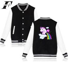 2017 harajuku kawaii casaco feminino Unicorn hit hop Printed Hoodie baseball jacket bomber jacket Women men Pink button Moletom