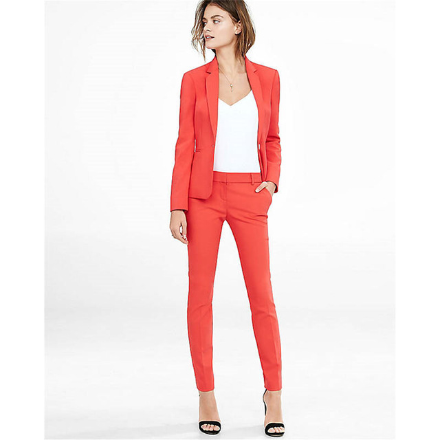 Fashion Red Notched Lapel Women's Slim Fit Office Working Wear Suits Female Custom Made High Quality Tuexedos Suits Jacket Pants