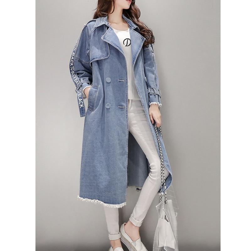 Women's Trench Coat Spring Waist Denim Windbreaker Fashion Full Sleeve Outwear Printed Female Long Denim Coat Loose Big Size