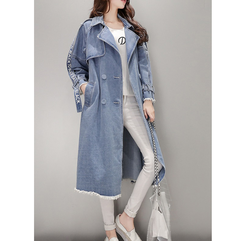 Women's   Trench   Coat spring Waist Denim Windbreaker Fashion Full Sleeve Outwear Printed Female Long Denim Coat Loose Big Size