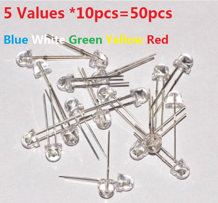 Straw Hat F5 LED Kit 5 Values *10pcs=50pcs 5MM Blue White Green Yellow Red  Transparent Cover Assorted Kit Set Pack DIY