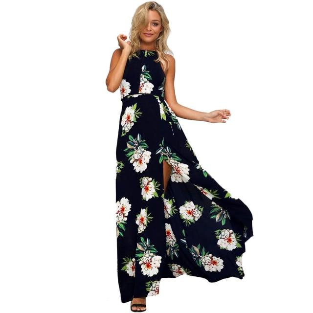 9ceea171ed Women Floral Chiffon Sleeveless Sexy Backless Boho Long maxi dress 2019 women  Summer Evening Party Beach Casual Dress