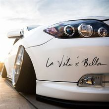40*8CM Car Accessories Side Door English Beautiful Life La Vita e Bella Sticker Reflective Styling