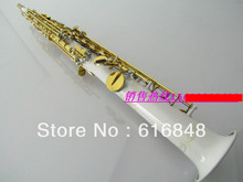 Professional B(B) Soprano Saxophone B Flat White Sax Gold Plated key Straight Tube High Quality Brass Saxophone With Accessories