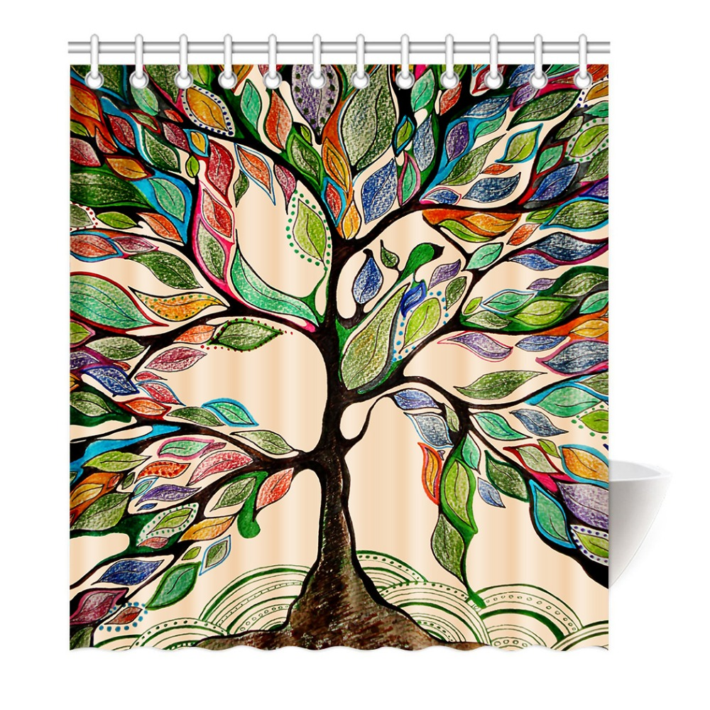 Brilliant Colorful Tree Shower Curtain Of Life Polyester Fabric Bathroom With Hookschina Throughout Inspiration