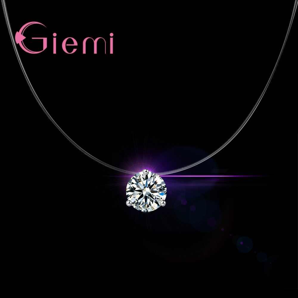 3 Claw Super Shining austriacki kryształ cyrkonia solidna 925 Sterling Silver naszyjnik dla kobiet biżuteria dziewczęca