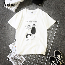 Jielur New Summer BF Couple Clothes Funny T Shirts Cartoon Letter Printed O-neck Women T-shirt Short-sleeved Loose Tops
