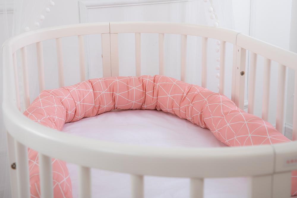 200cm Infant Crib Fence Baby Bed Bumper Children Plaid Cloud Pillow Bumper Cotton Cushion Kids Room Bedding Decoration