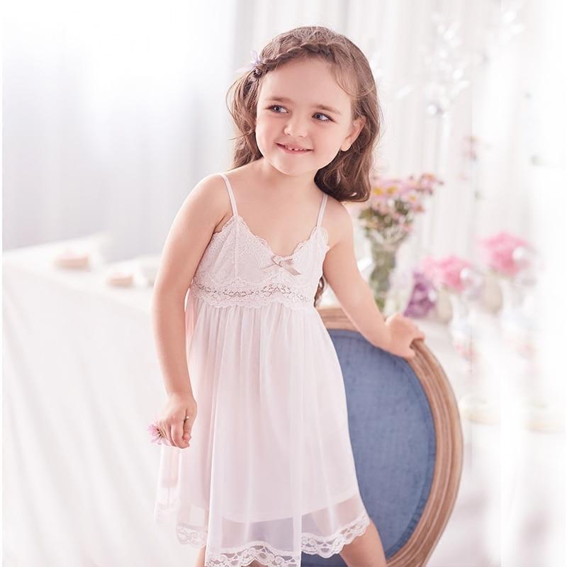 Princess Girl Sleeping Skirt Summer Lace Childrens Little Girls Parent-Child Sleepwear
