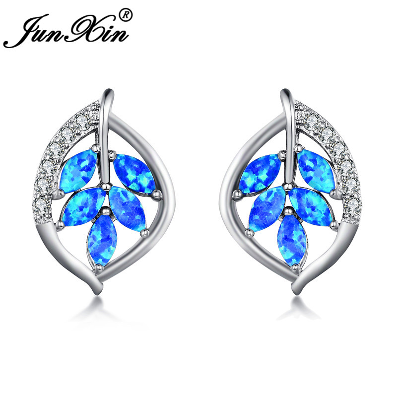 JUNXIN Silver Color Plant Tree Leaf Stud Earrings For Women Marquise Cut Blue White Fire Opal Earrings Wedding CZ