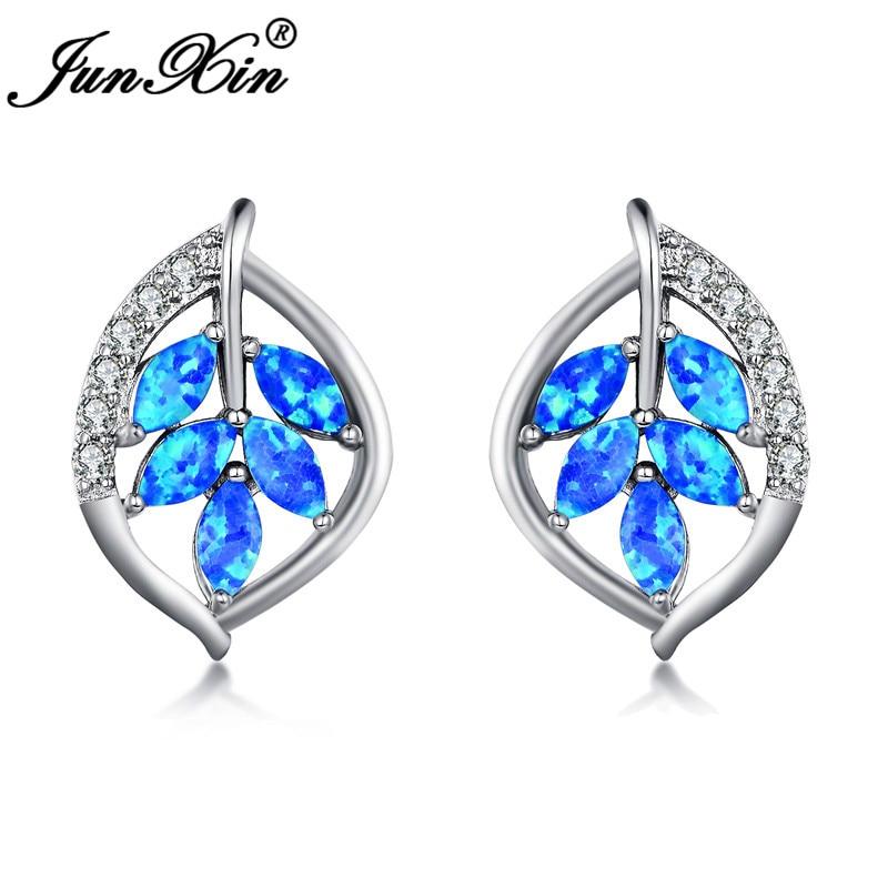 JUNXIN Silver Color Plant Tree Leaf Stud Earrings For Women Marquise Cut Blue White Fire Opal Earrings Wedding CZ