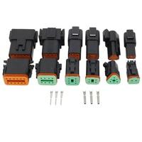 6 conjuntos preto dt dt06/dt04 (2 + 3 + 4 + 6 + 8 + 12) pino motor/caixa de engrenagens conector elétrico impermeável para carro  ônibus  motor  Truck22-16AWG