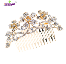 hot deal buy gold crystals rhinestone hair comb flower hairpins bridal wedding hair jewelry accessories 2255r