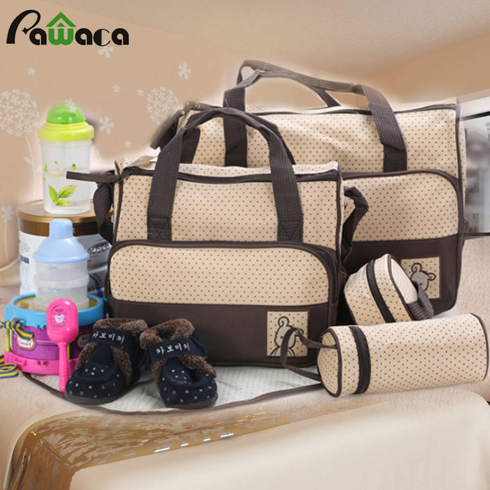 5Pcs/set Multi-functional Mummy Bag Combination Storage Bag Feeding Nursing Bottle Organizer Portable Baby Supplies Nappy Bags