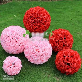 10 Inch 25cm Artificial Encryption Rose Silk Flower Kissing Balls Hanging Ball Christmas Ornaments Wedding Party Decoration
