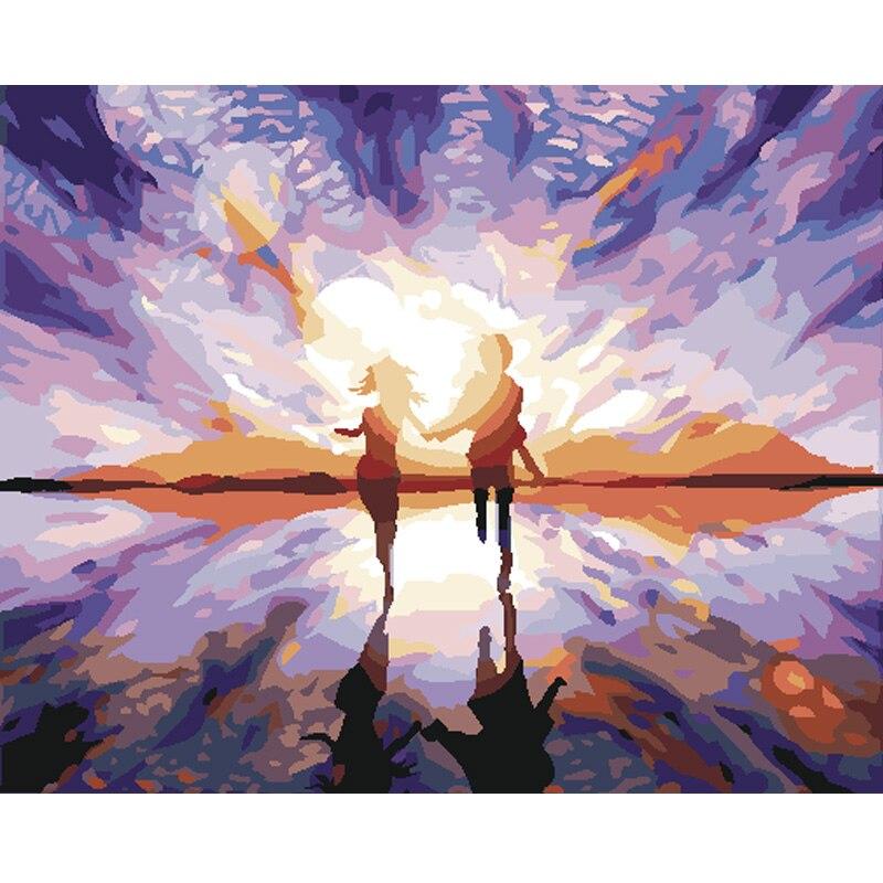 ჱPintado a mano lienzo pinturas al óleo sala de pared cuadros DIY ...