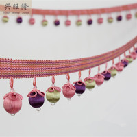 XWL 6M Lot 6 5cm Wide Bead Curtain Lace Accessories Tassel Fringes Trim Ribbon DIY For
