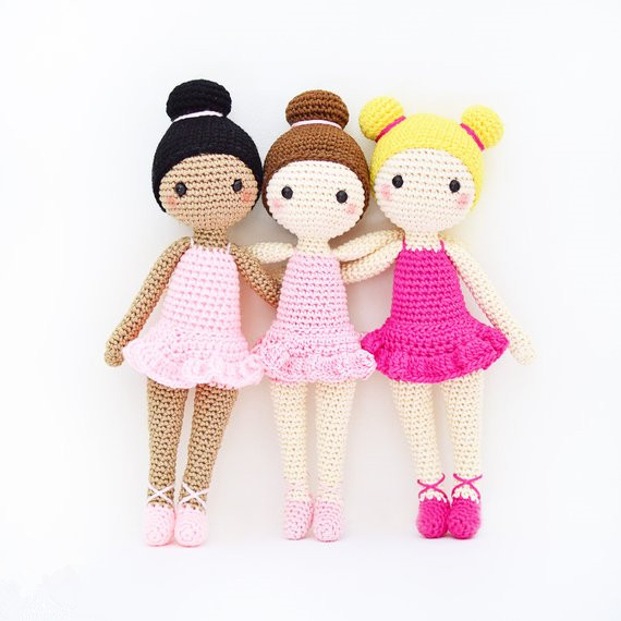 Crochet  Amigurumi Doll Girl Rattle Toy