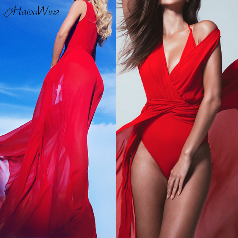 Boho Loose Long Red Dress for Women Sexy Summer Beach Deep V Neck Lace-up Ethnic Maxi Robe Femme 2018 Vestidos Verano with Belt