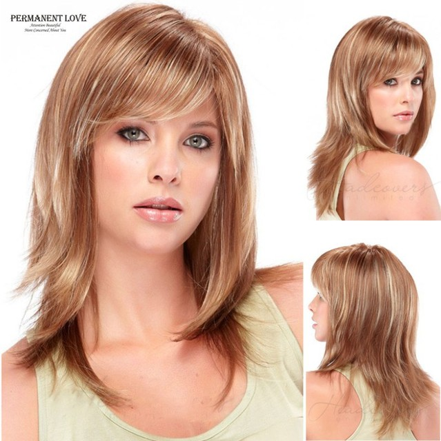Medium Length Long Wigs Layered Blonde Highlights Wigs With Side
