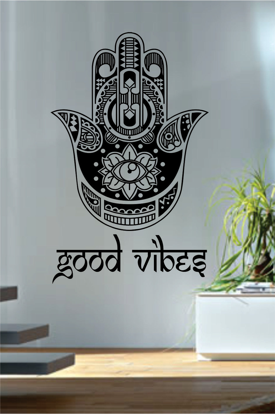 Perfect Good Vibes Hamsa Wall Decals Fatima Hand Quotes Wall Decor Vinyl Stickers  Yoga Meditation Decor Geometric Wall TattooS 510