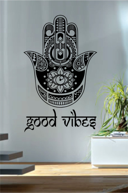 Good vibes hamsa wall decals fatima hand quotes wall decor vinyl stickers yoga meditation decor geometric