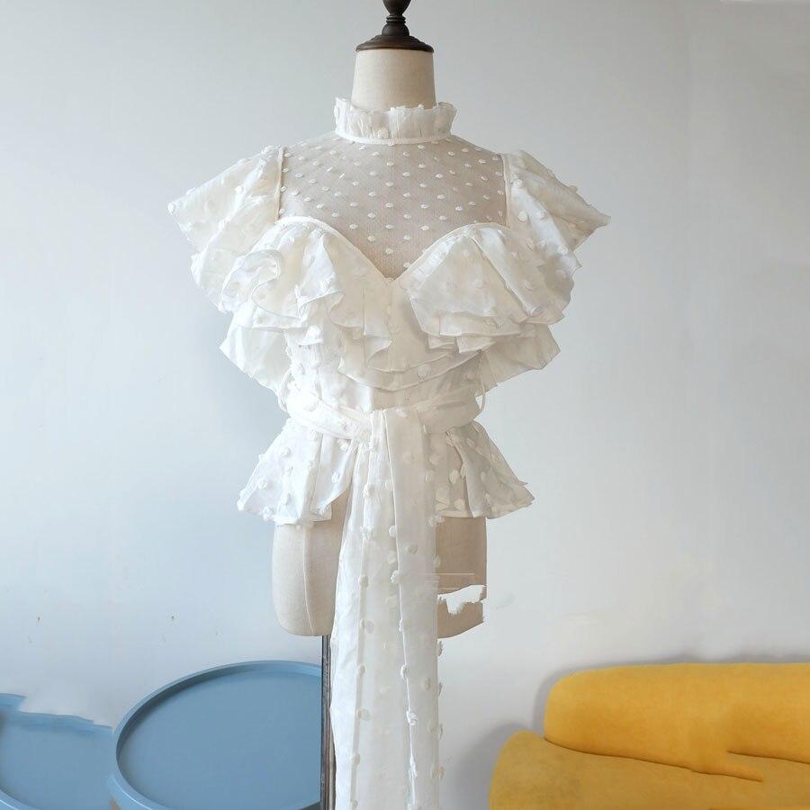 Manga Corta Blanco De Encaje White Estilo Sexy Nuevo Mujeres Puntos Perspectiva Blusas 2018 Camisa Patrón Moda Blusa Volantes 6RwxUZ