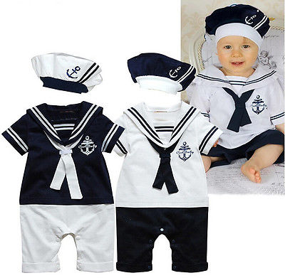 NEW Baby Boy Girl Sailor Collar Costume Suit Grow Outfit Romper Pants Clothes and Hat