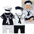 NOVO Bebê Da Menina Do Menino Gola Marinheiro Traje Terno Crescer Calças Roupas Outfit Romper e Chapéu