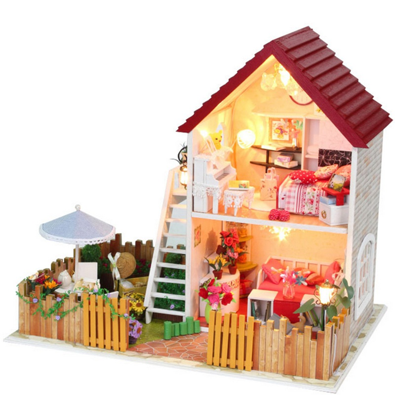 Hot sale hoomeda diy handmade wooden miniature dream house models with led furniture cover doll - Wooden dream houses ...