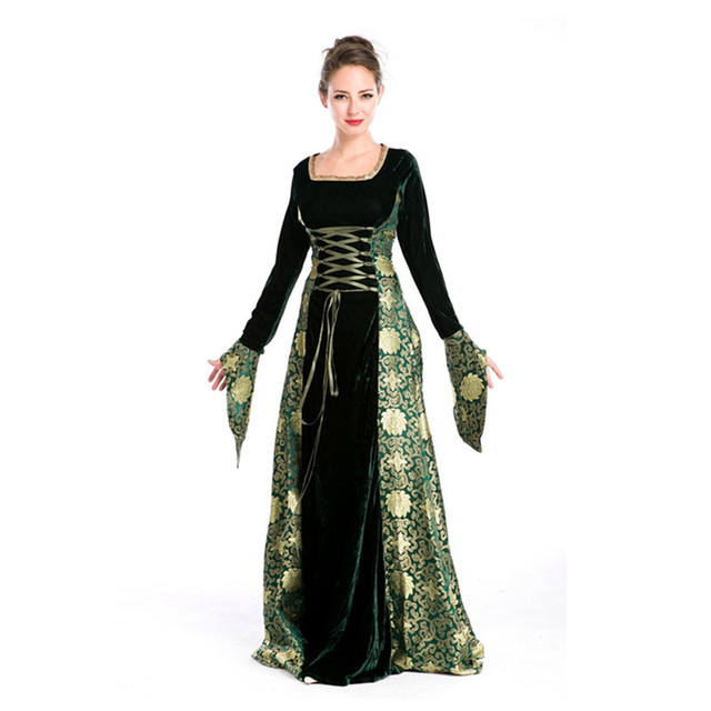 women renaissance medieval gothic long dress halloween costumes gypsy church notre dame cosplay dress