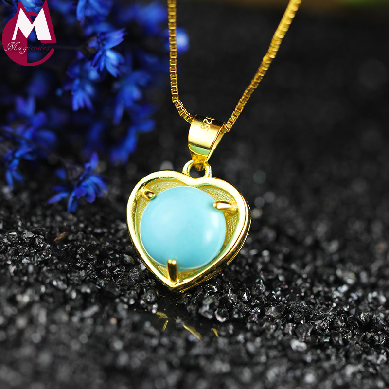 Carving Turquoise Shell Bead Design Gold Color Branch Heart Jewelry 100% 925 Sterling Silver Pendant Necklace Women Wedding Gift стоимость