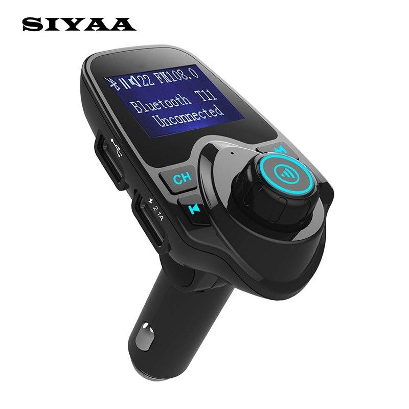 Новый siyaa <font><b>T11</b></font> <font><b>Bluetooth</b></font> Car Kit Handsfree fm-передатчик MP3 музыкальный плеер Dual USB Автомобильное зарядное устройство Поддержка карты памяти у диск плеер