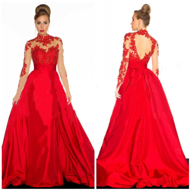 indian saree bridal for sale fashion backless high neck a-line long sleeve  lace appliuqes red evening mother of the bride dress 35f96123556d