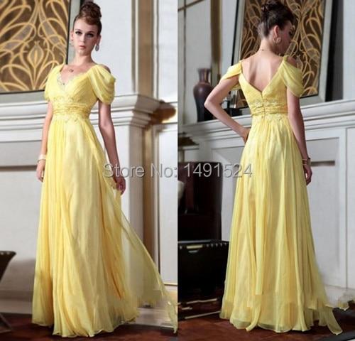 2015 New V Neck A Line Yellow Chiffon Long Prom font b Dresses b font Appliques