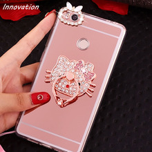 Innovation Luxury Mirror Flash Fashion Case For Huawei P8 Lite 2017 P9 Lite P10 Plus Clear Soft TPU Silicon Cover Bag Ring Stand