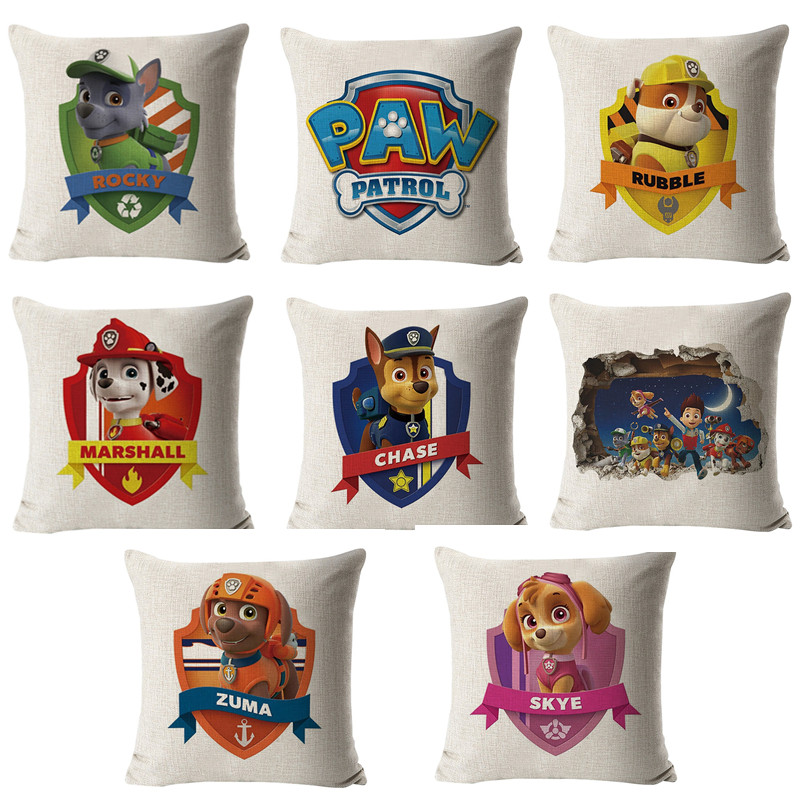 50CM Paw Patrol Hug Pillowcase Stuffed Animal Anime Figure Plush Toy Doll Pillow Case Chase Marshall Skey Toys For Children Gift