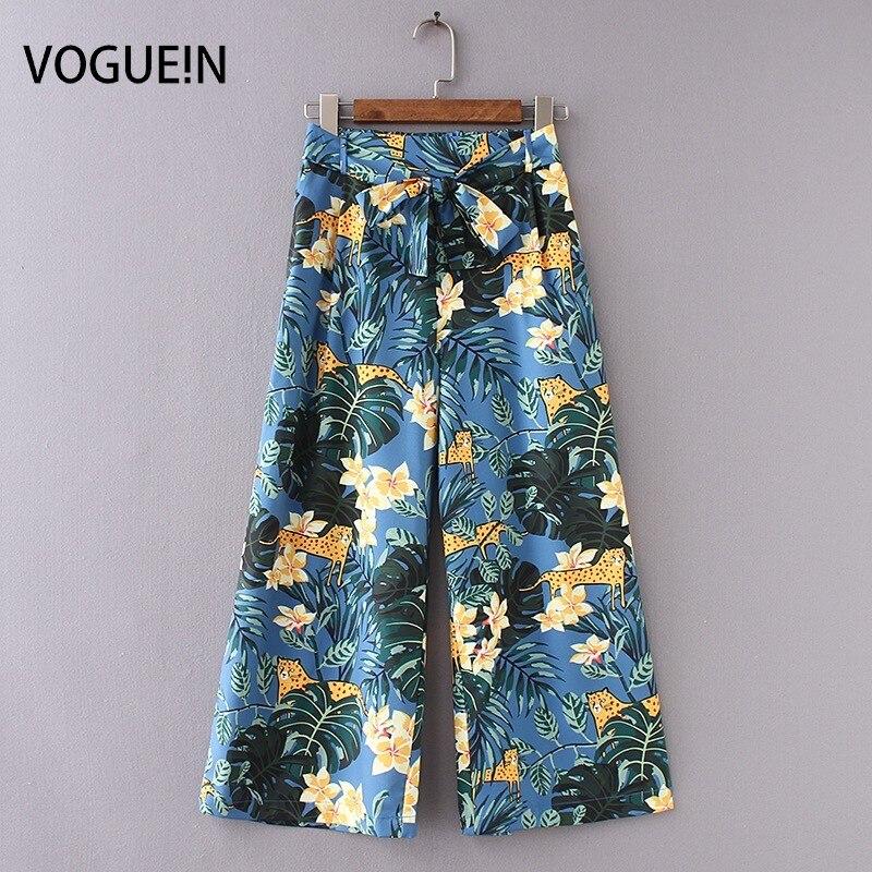 VOGUEIN New Womens Tropical Floral Leopard Print Wide Leg Belt Trousers Pants Wholesale