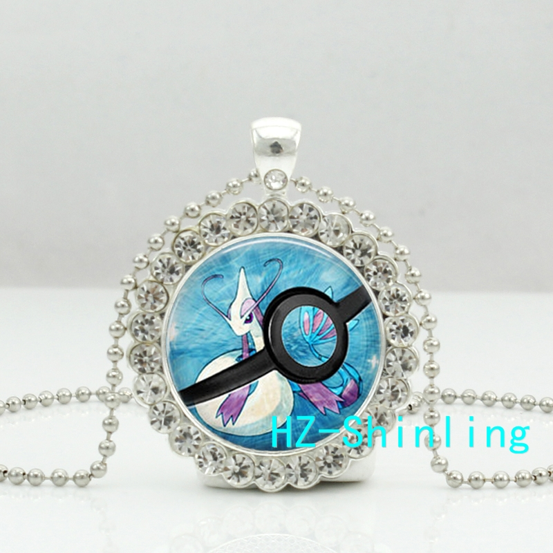 New Glass Pokemon Pendants Milotic Pokeball Necklace Crystal Pendant Jewelry Silver Ball Chain font b Anime