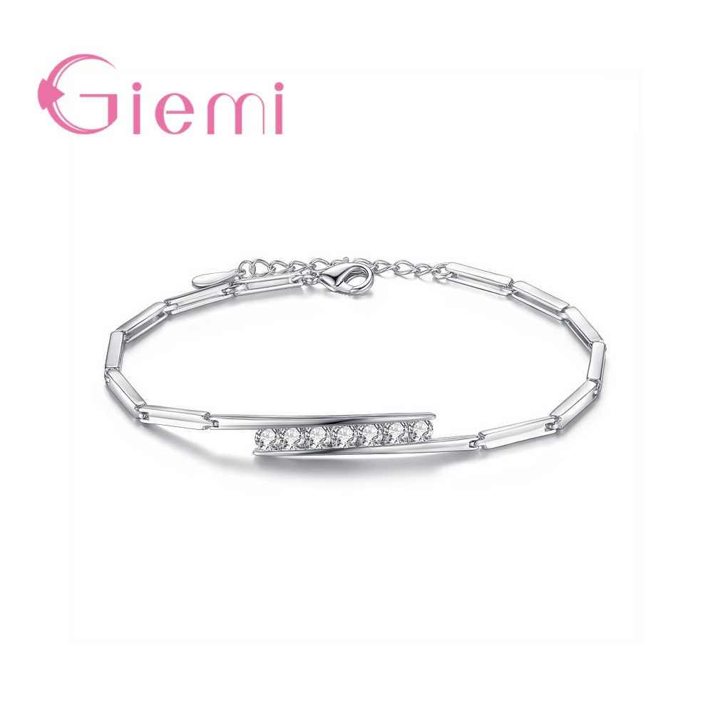 Personalized Women Link Bracelet White/Purple Option 925 Sterling Silver  Crystal Bangle Simple Birthday Gifts for Lovers