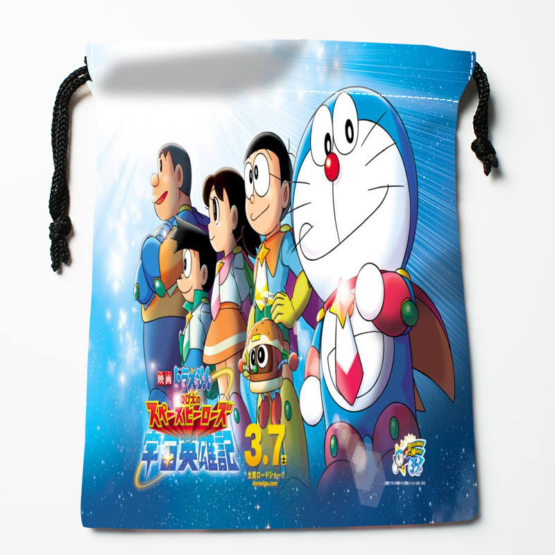 High Quality Custom Doraemon Printing Storage Bag Drawstring Bag Gift Satin Bags 27x35cm Compression Type Bags