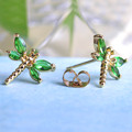 Korean Cute Earrings Studs For Women Girls Small Dragonfly Insect Earring Cubic Zirconia Gold Plated Copper Brincos Bijoux