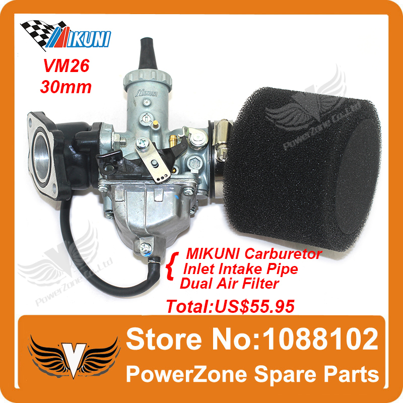 MIKUNI Carburetor VM26 PZ30 Kit  + Inlet Intake Pipe Air Filter 200cc 250cc Dirt Bike Pit Pro IRBIS KAYO Motorcycle Carburetor