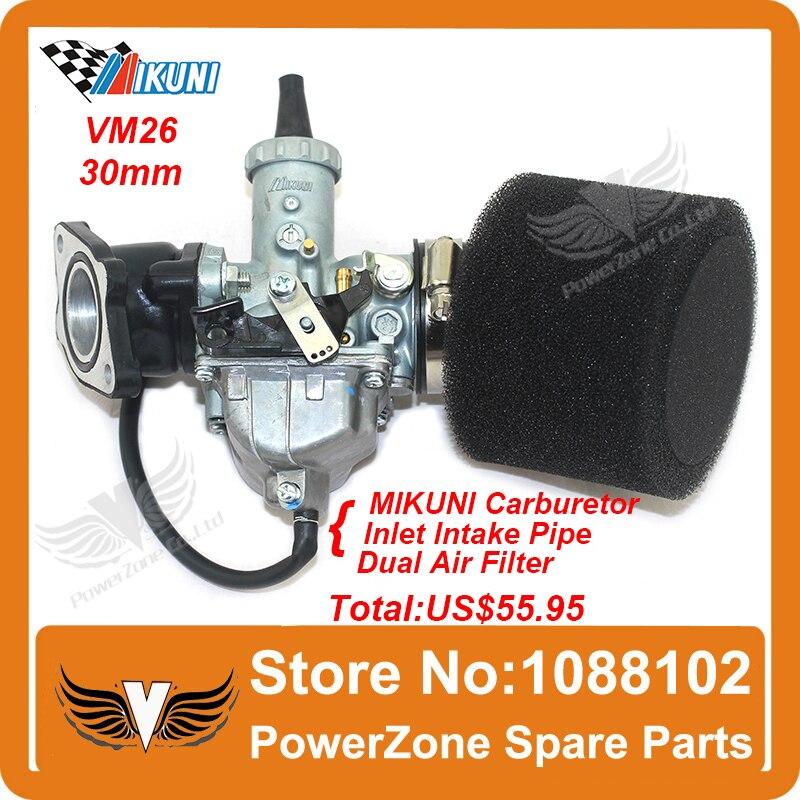 MIKUNI Carburetor VM26 PZ30 Kit  + Inlet Intake Pipe Air Filter 200cc 250cc Dirt Bike Pit Pro IRBIS KAYO Motorcycle Carburetor