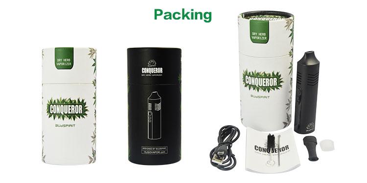 , Portable Conqueror Dry Herb Vape Electronic Cigarette kit Pen Digital Herbal Vaporizer Ceramic Heat Chamber Temperature Control