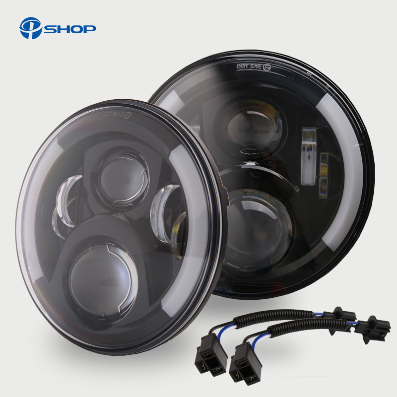2pcs black 7 Inch Round H/Low lm LED Headlight For Lada 4x4 urban Niva For Jeep Wngler Hummer Land rover defender