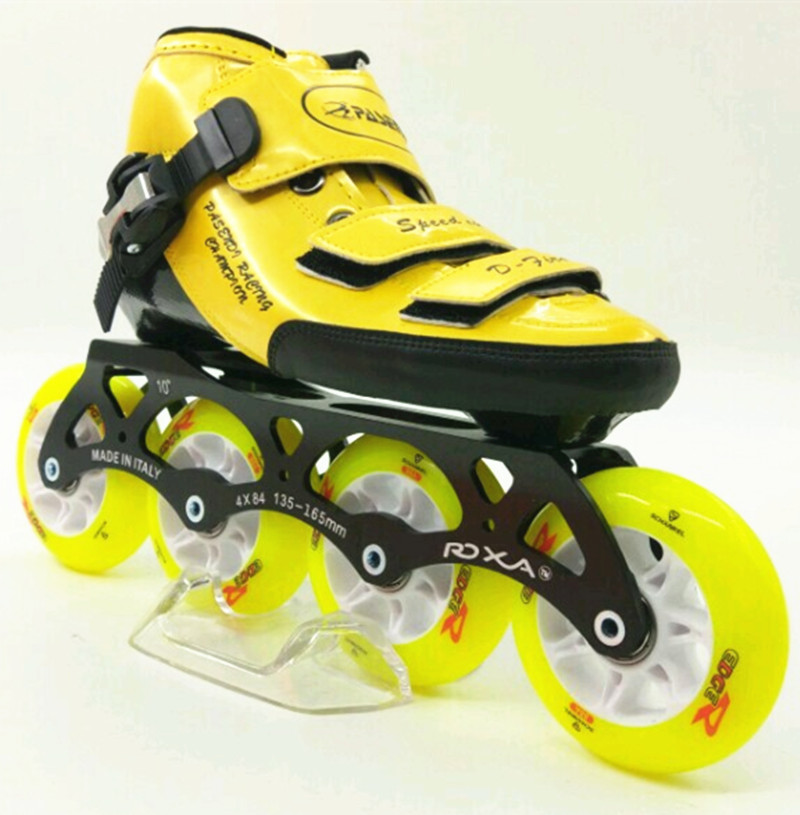 inline speed skates shoes yellow color  inline roller skate boot  inline skating 84mm wheels patin inline skates for beginners inline duo 7квт киев