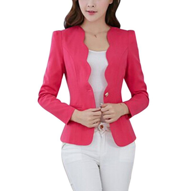 ROPALIA New Women's One Button Slim Fashion Office Business Blazer Suit Casual Jacket Female Coat Outwear