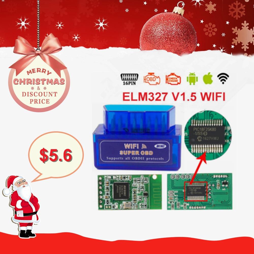 Super Mini ELM327 V1.5 Wifi OBD2 ELM327 PIC18F25K80 Chip ELM 327 V1.5 Wi-Fi OBDII OBD para Android/Ios/ windows/PC