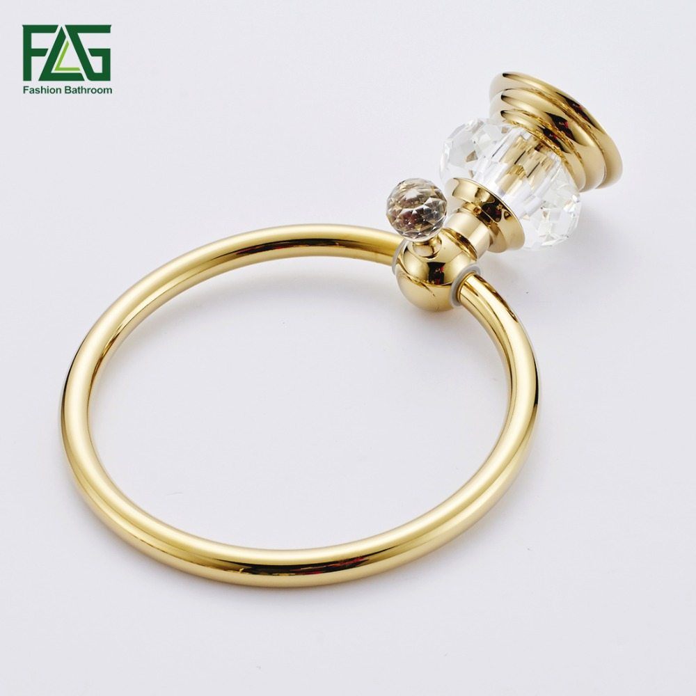 DealüFLG Towel-Ring Crystal Brass Bathroom Golden Wall-Mounted G154-06G And Unique-Designô